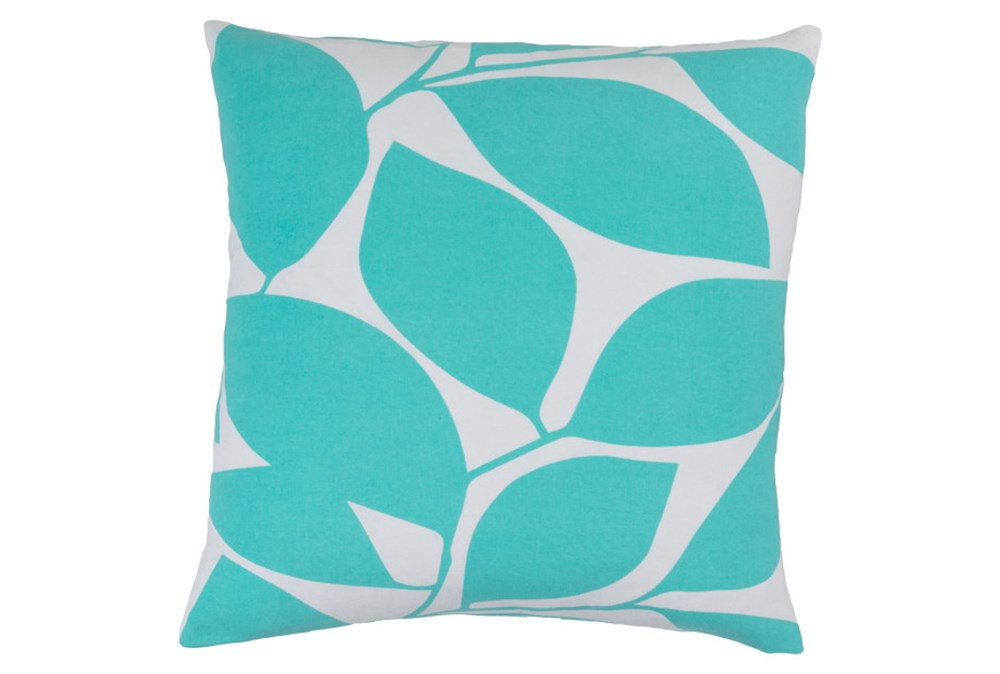Accent Pillow-Leaflet Aqua/Grey 18X18
