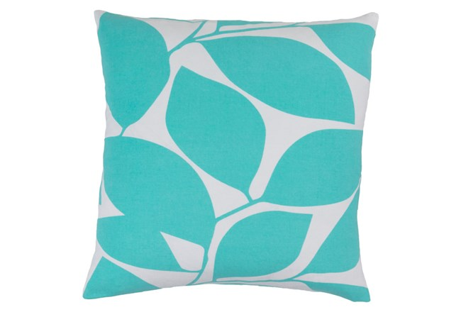 Accent Pillow-Leaflet Aqua/Grey 18X18 - 360
