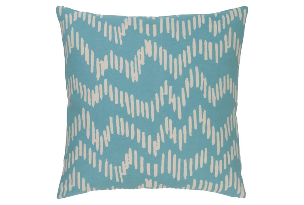 Accent Pillow-Charter Abstract Teal/Beige 18X18