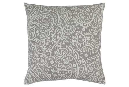 Accent Pillow-Paisley Grey/Ivory 18X18