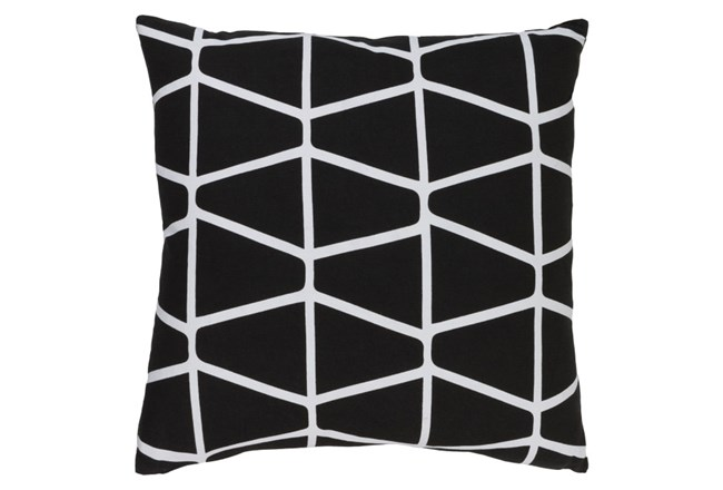Accent Pillow-Stemsly Geo Black/Ivory 18X18 - 360