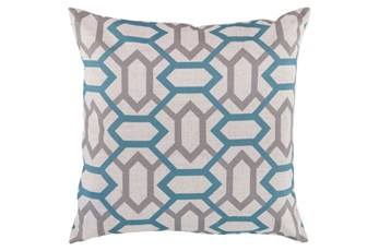 Accent Pillow-Joey Teal/Grey 22X22