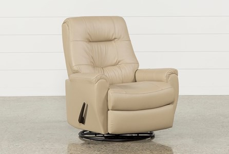 Rogan Leather Cobblestone Swivel Glider Recliner