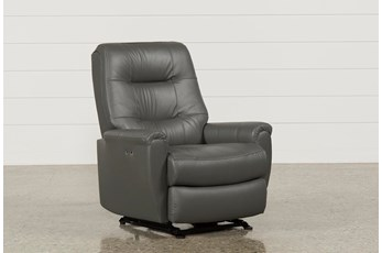 Rogan II Leather Grey Power Wallaway Recliner
