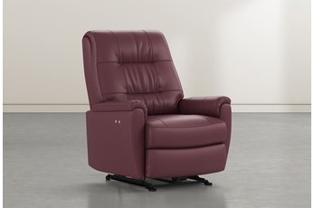 Rogan II Burgundy Leather Power Wallaway Recliner