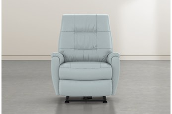 Rogan II Light Blue Leather Power Wallaway Recliner