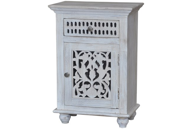 White Wash Finish Bed Side Table - 360