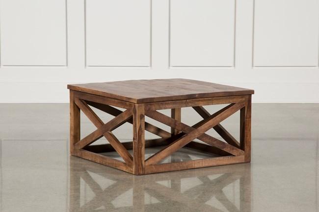 Tan Finish Square Coffee Table - 360