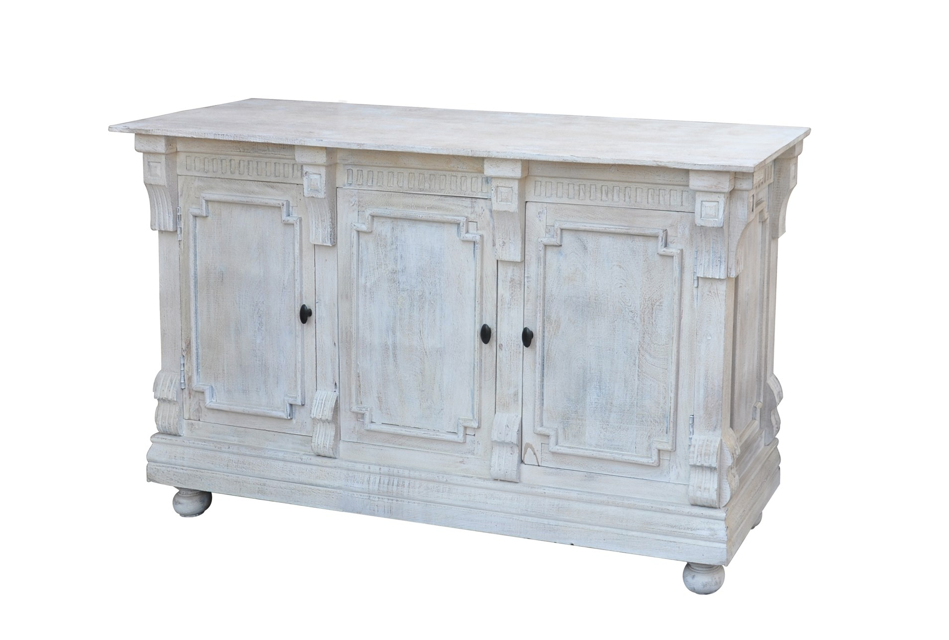 White Wash Finish 3-Door Sideboard | Living Spaces