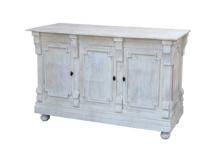 White Wash Finish 3-Door Sideboard