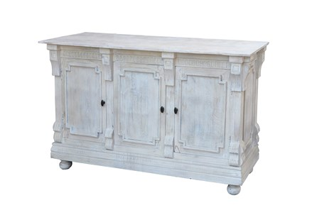 White Wash Finish 3-Door Sideboard - Main