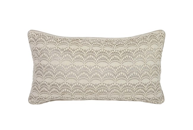 Accent Pillow-Silver Lace Overlay 14X26 - 360