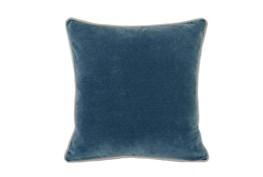 18X18  Marine Teal Blue Stonewashed Velvet Throw Pillow