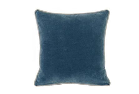 18X18  Marine Teal Blue Stonewashed Velvet Throw Pillow - Main