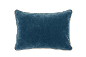14X20 Marine Teal Blue Stonewashed Velvet Lumbar Throw Pillow