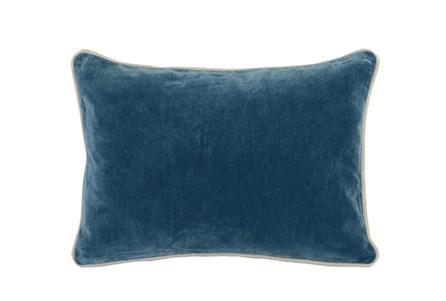 14X20 Marine Teal Blue Stonewashed Velvet Lumbar Throw Pillow - Main