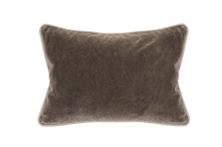 14X20 Desert Brown Stonewashed Velvet Lumbar Throw Pillow - Main