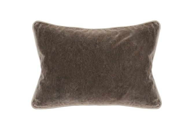 14X20 Desert Brown Stonewashed Velvet Lumbar Throw Pillow - 360