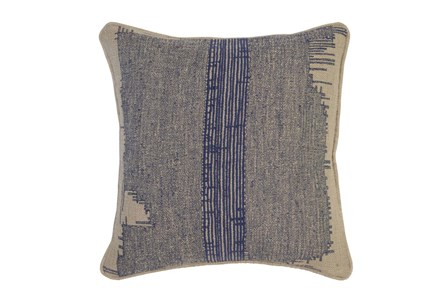 Accent Pillow-Indigo Washed Out Stripe 22X22