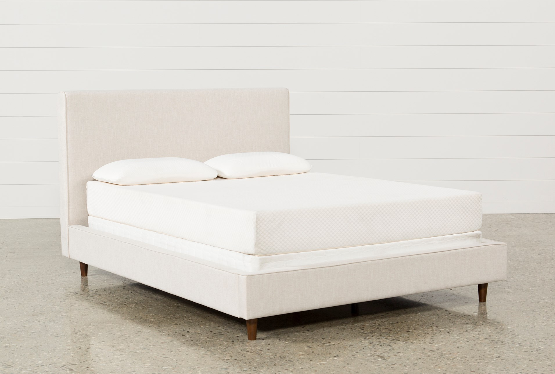 Dean Sand Queen Upholstered Panel Bed Living Spaces