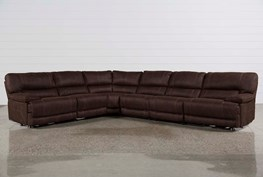 Marx Kahlua 6 Piece Power Reclining Sectional W/2 Armless Chairs