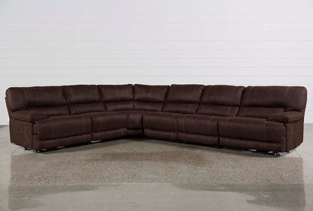 Marx Kahlua 6 Piece Power Reclining Sectional W/2 Armless Chairs