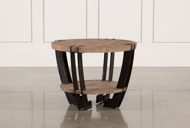 Natural Wood & Iron Round End Table - 360