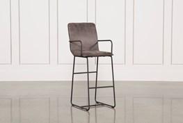 Cool Brown Finish & Iron Barstool