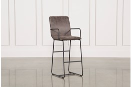 Cool Brown Finish & Iron Bar Stool