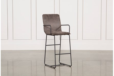 Cool Brown Finish & Iron Barstool - Main