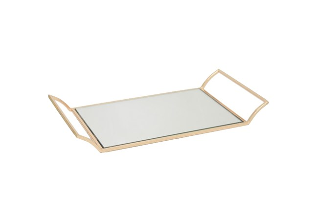 Rose Gold Metal Tray W/Mirror - 360