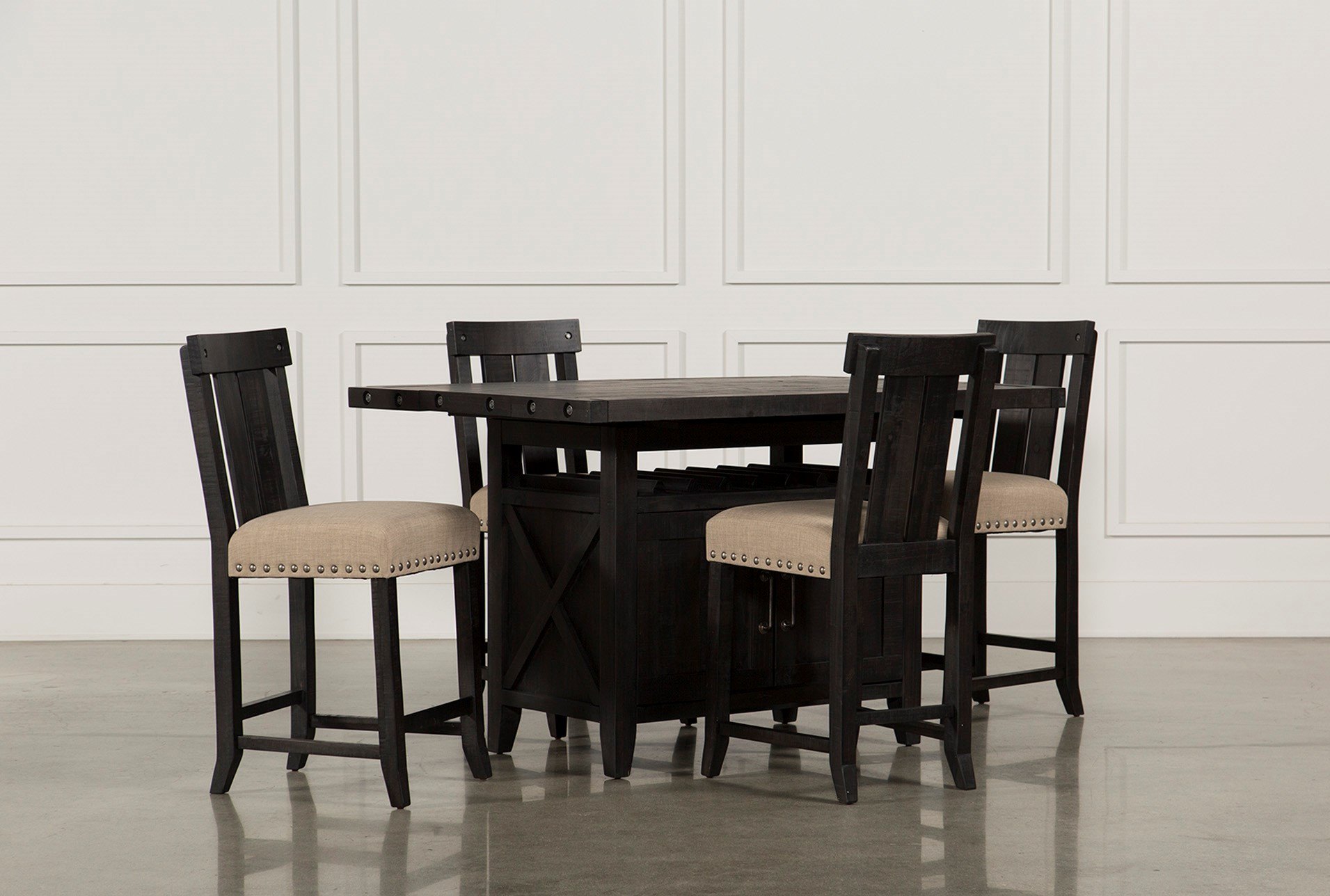 Jaxon 5 Piece Extension Counter Set W/Wood Stools | Living Spaces