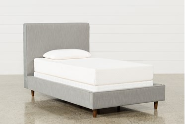 Dean Charcoal Twin Upholstered Panel Bed