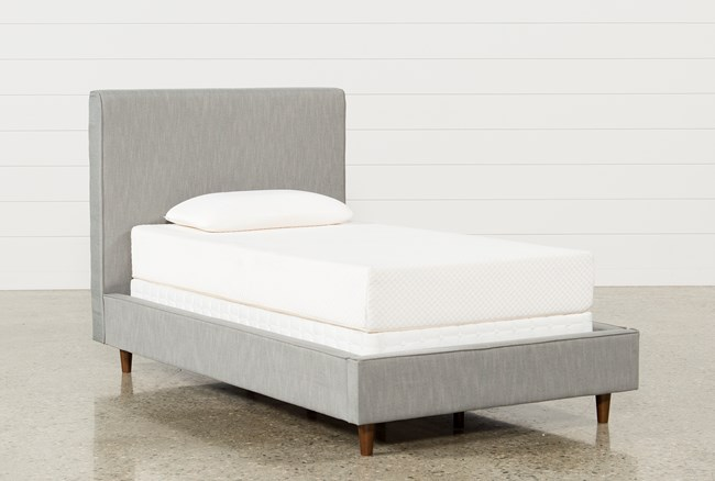 Dean Charcoal Twin Upholstered Panel Bed - 360