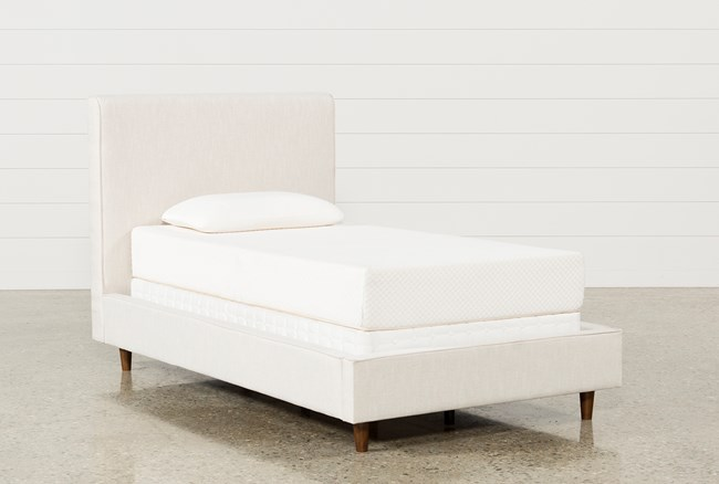 Dean Sand Twin Upholstered Panel Bed - 360