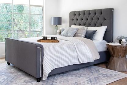 Leighton California King Upholstered Platform Bed Living Spaces