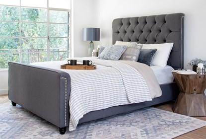 Leighton Eastern King Upholstered Platform Bed Living Spaces