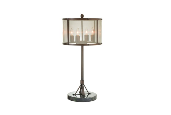 28 Inch Bronze + Black Industrial Style Table Lamp With Fine Mesh Shade - 360
