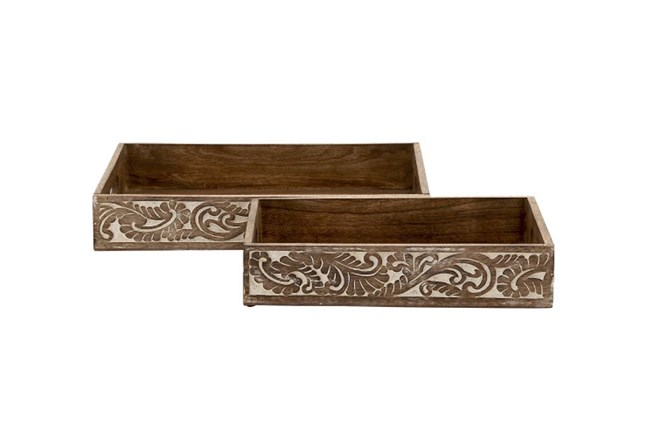 Wood Tray Set Of 2 - 360