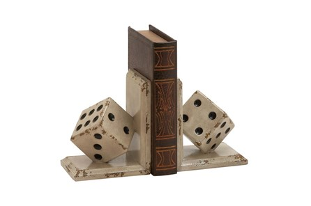 8 Inch Wood Dice Bookend - Main