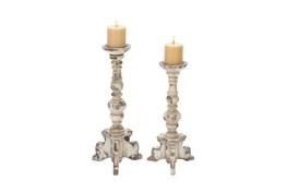 2 Piece Set Wood Candleholders