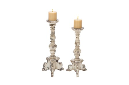 2 Piece Set Wood Candleholders - Main