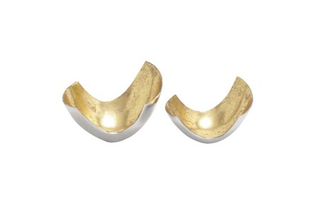2 Piece Set Aluminum Gold Bowls