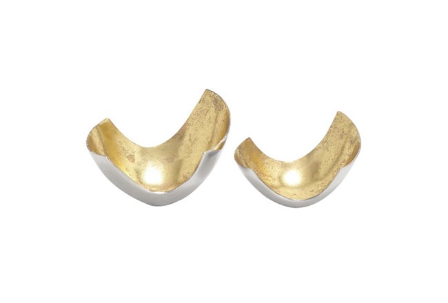 2 Piece Set Aluminum Gold Bowls - 360