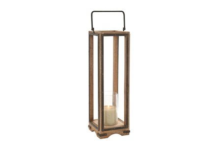 31 Inch Wood Metal Glass Lantern