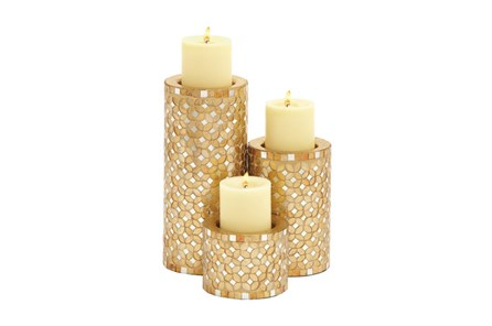 3 Piece Set Metal Mosaic Candleholders - Main