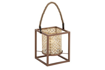 19 Inch Metal Gold Mosaic Lantern
