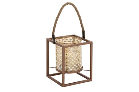 19 Inch Metal Gold Mosaic Lantern - Main