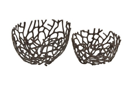 2 Piece Set Aluminum Deco Bowls - Main