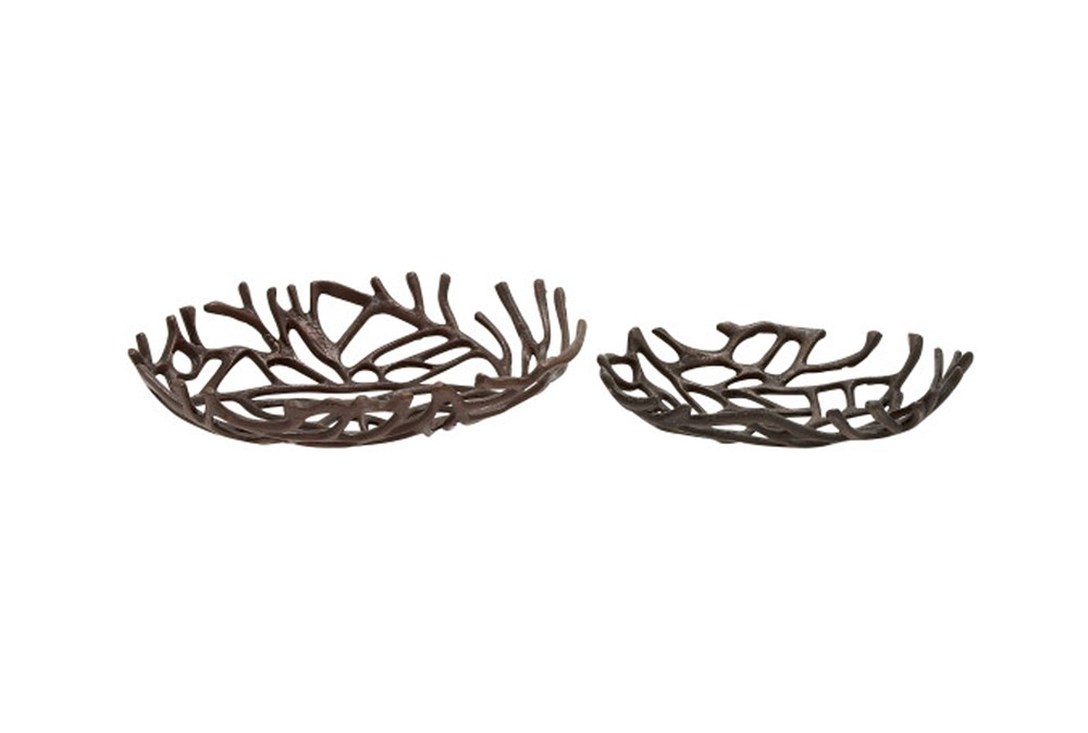 2 Piece Set Aluminum Deco Oval Bowls